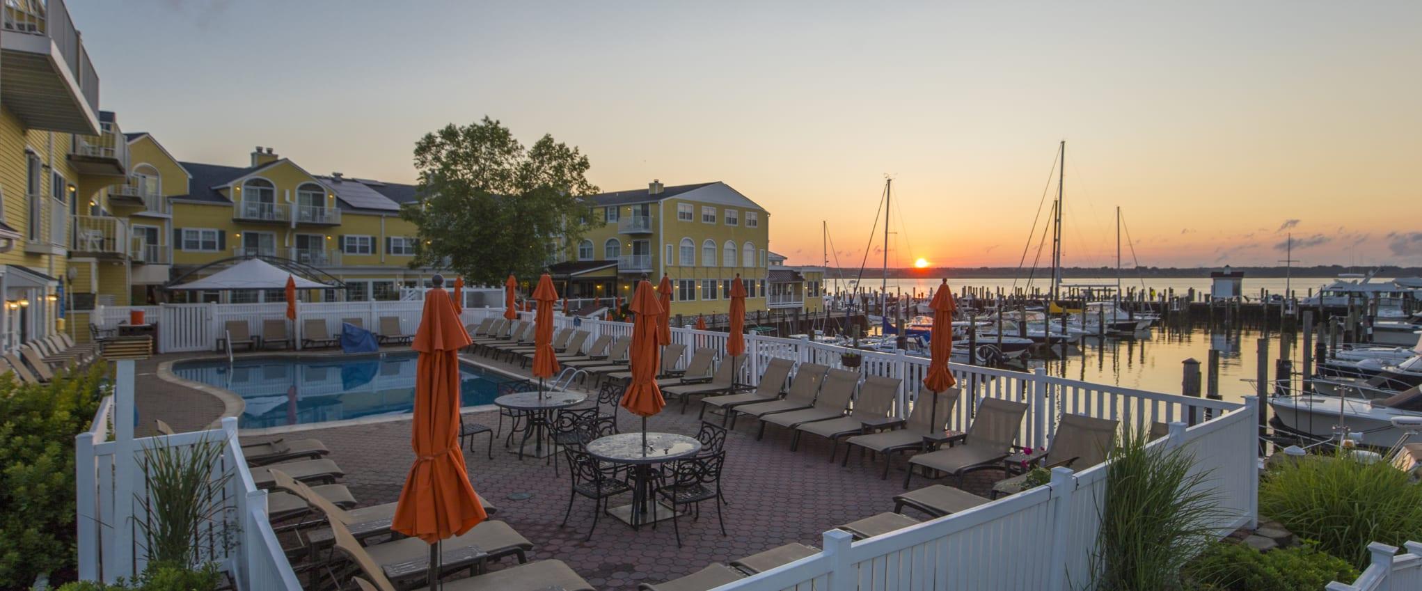 Saybrook Point Resort & Marina sunrise pool at sunset