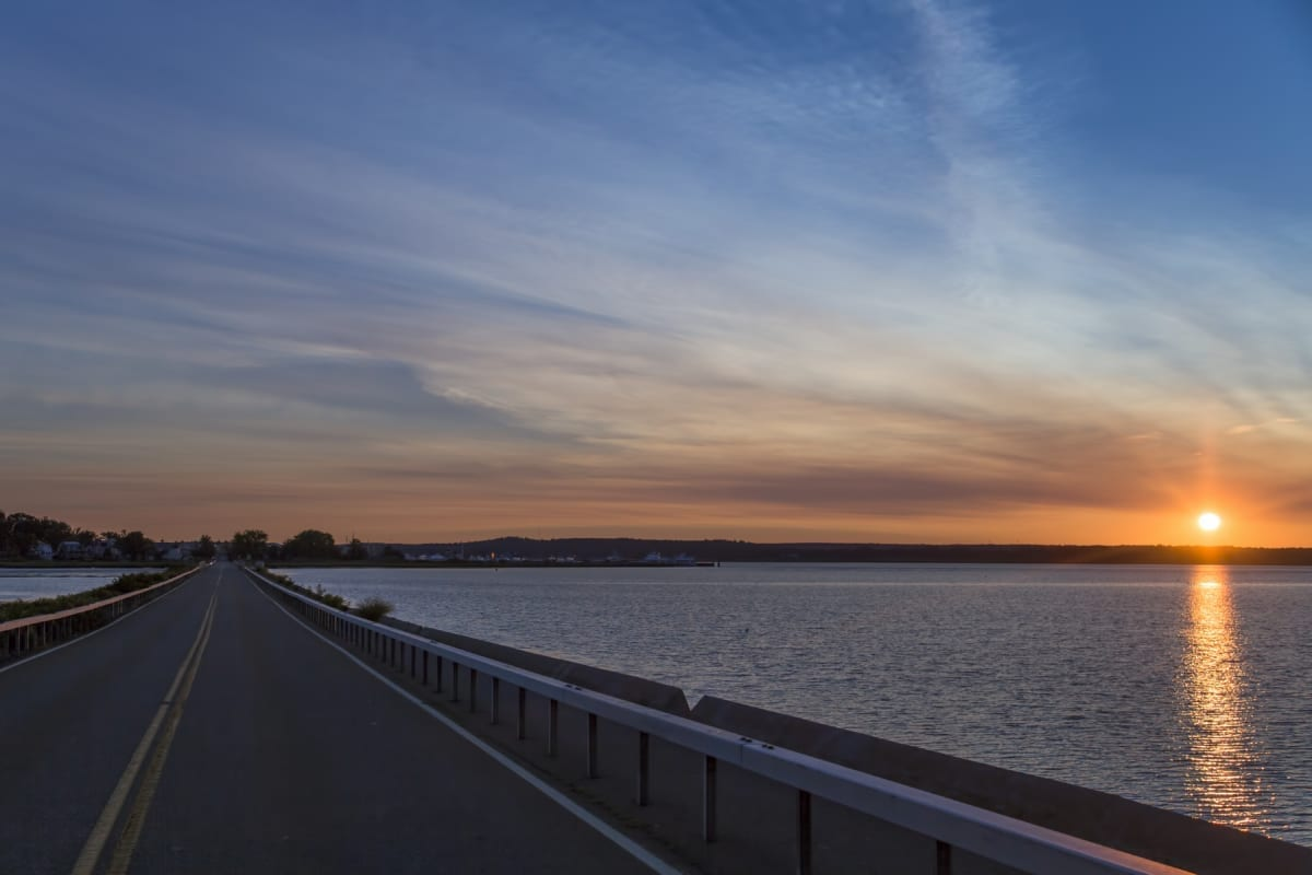 Causeway at sunset.