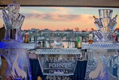 Event ice display with liquor bottles.