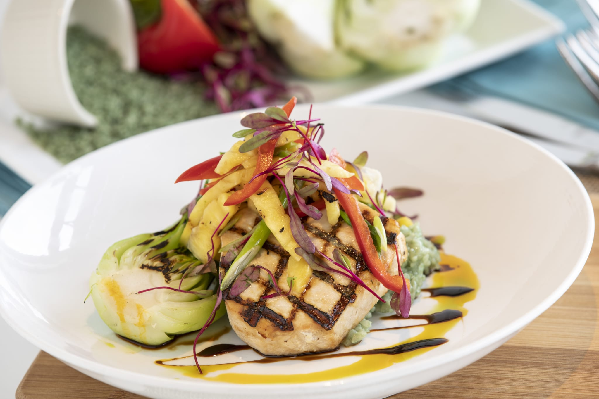 Grilled swordfish loin.