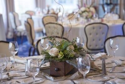 Wedding reception table setting.