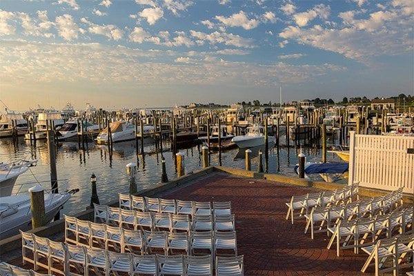 Wedding venue setup at a marina.