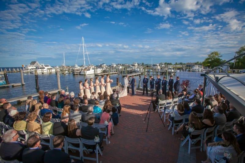 Wedding ceremony near marina.