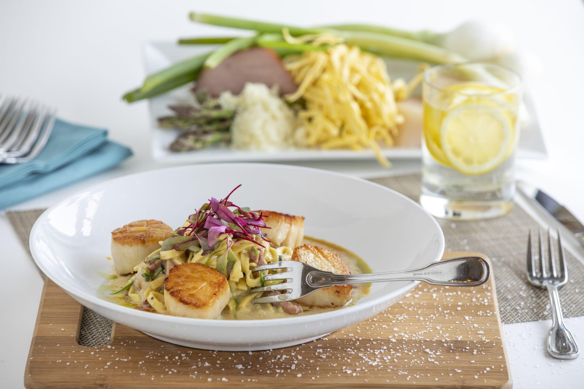 Restaurant scallops dining arrangement.
