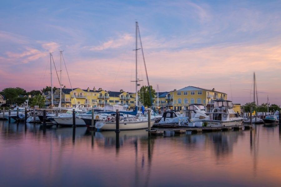 Marina and hotel at sunrise.