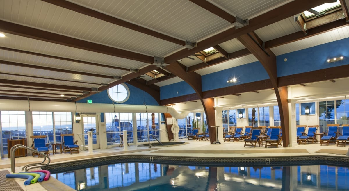 Indoor hotel pool.