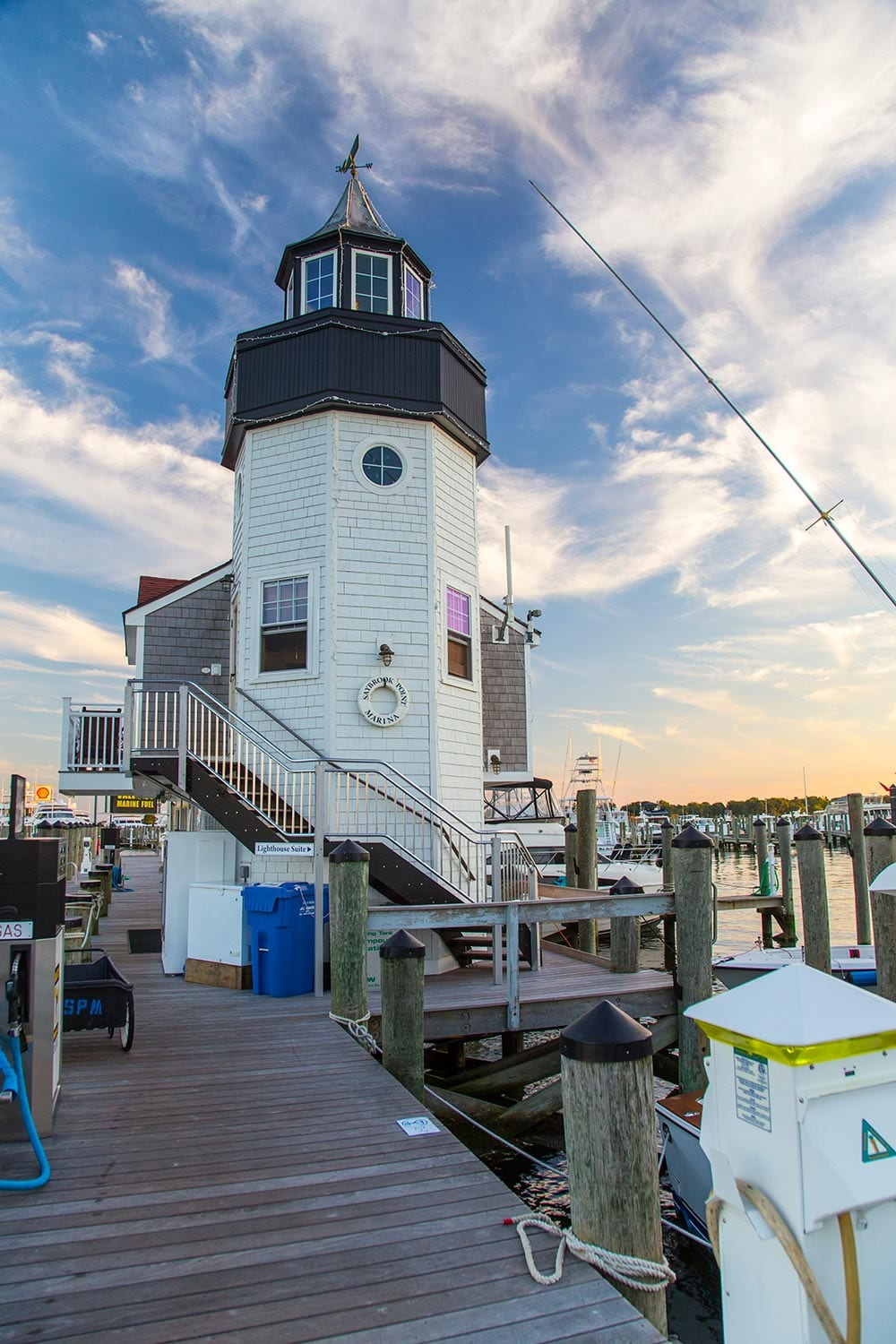 lighthouse suite on the docks of the marina at Saybrook Point Resort & Marina
