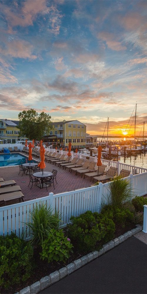 Pool & Saybrook Point Resort & Marina During Sunrise