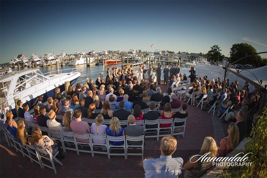 Wedding ceremony near a harbor.