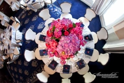 Top view of wedding dining table.