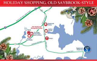 Map of local shopping centers. Text: Holiday Shopping, Old Saybrook-Style.