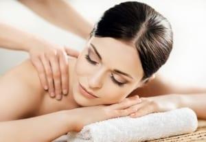 Woman getting a Swedish massage.