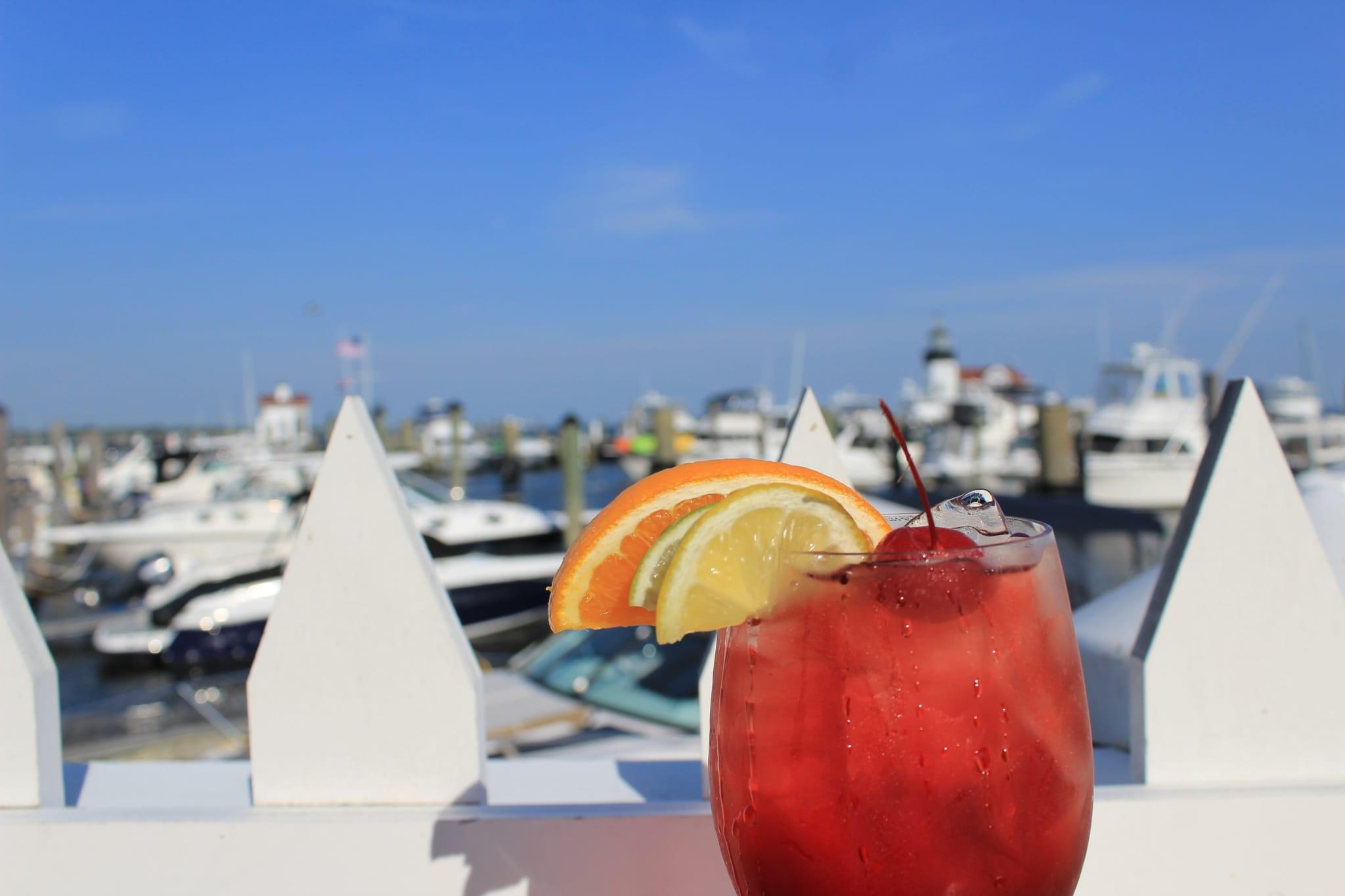 Mixed drink overlooking the marina.