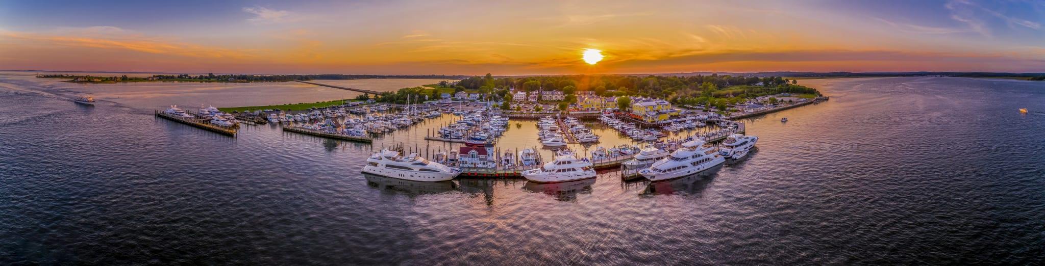 Panorama sunset of Saybrook Point Marina.