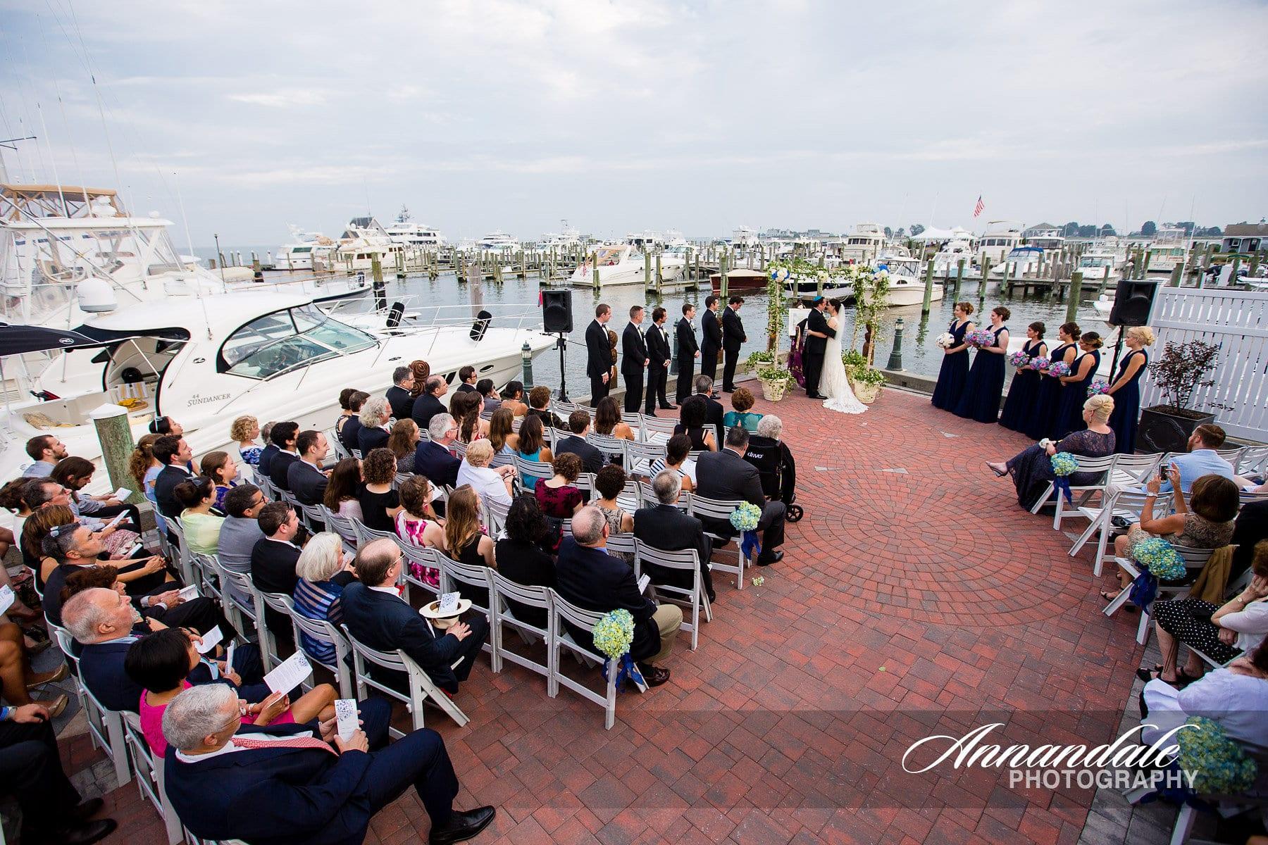 Outdoor marina wedding ceremony.
