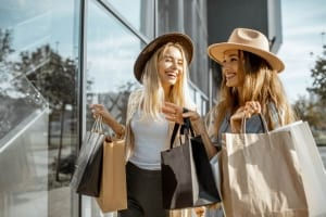 Two girls shop at the outlets near Saybrook Resort.
