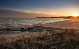 Harvey Beach at sunset in Old Saybrook, CT.